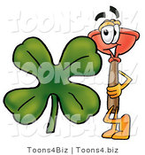 Illustration of a Cartoon Plunger Mascot with a Green Four Leaf Clover on St Paddy's or St Patricks Day by Toons4Biz