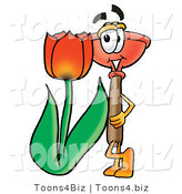 Illustration of a Cartoon Plunger Mascot with a Red Tulip Flower in the Spring by Toons4Biz