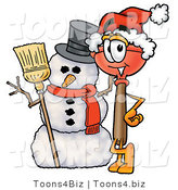 Illustration of a Cartoon Plunger Mascot with a Snowman on Christmas by Toons4Biz