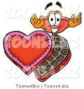 Illustration of a Cartoon Plunger Mascot with an Open Box of Valentines Day Chocolate Candies by Toons4Biz