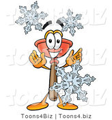 Illustration of a Cartoon Plunger Mascot with Three Snowflakes in Winter by Toons4Biz