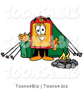 Illustration of a Cartoon Price Tag Mascot Camping with a Tent and Fire by Toons4Biz
