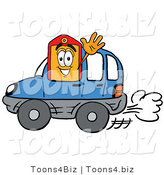Illustration of a Cartoon Price Tag Mascot Driving a Blue Car and Waving by Toons4Biz
