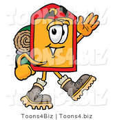Illustration of a Cartoon Price Tag Mascot Hiking and Carrying a Backpack by Toons4Biz