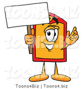 Illustration of a Cartoon Price Tag Mascot Holding a Blank Sign by Toons4Biz