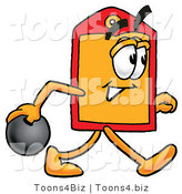 Illustration of a Cartoon Price Tag Mascot Holding a Bowling Ball by Toons4Biz