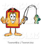 Illustration of a Cartoon Price Tag Mascot Holding a Fish on a Fishing Pole by Toons4Biz