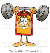 Illustration of a Cartoon Price Tag Mascot Holding a Heavy Barbell Above His Head by Toons4Biz