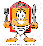 Illustration of a Cartoon Price Tag Mascot Holding a Knife and Fork by Toons4Biz