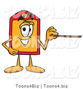 Illustration of a Cartoon Price Tag Mascot Holding a Pointer Stick by Toons4Biz