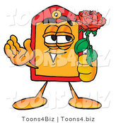 Illustration of a Cartoon Price Tag Mascot Holding a Red Rose on Valentines Day by Toons4Biz