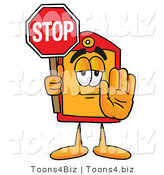 Illustration of a Cartoon Price Tag Mascot Holding a Stop Sign by Toons4Biz