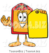 Illustration of a Cartoon Price Tag Mascot Holding a Yellow Sales Price Tag by Toons4Biz