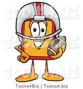 Illustration of a Cartoon Price Tag Mascot in a Helmet, Holding a Football by Toons4Biz