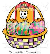 Illustration of a Cartoon Price Tag Mascot in an Easter Basket Full of Decorated Easter Eggs by Toons4Biz