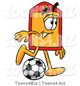 Illustration of a Cartoon Price Tag Mascot Kicking a Soccer Ball by Toons4Biz