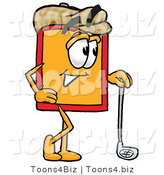Illustration of a Cartoon Price Tag Mascot Leaning on a Golf Club While Golfing by Toons4Biz