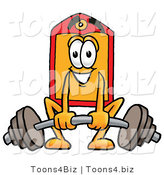 Illustration of a Cartoon Price Tag Mascot Lifting a Heavy Barbell by Toons4Biz