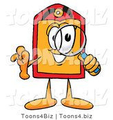 Illustration of a Cartoon Price Tag Mascot Looking Through a Magnifying Glass by Toons4Biz