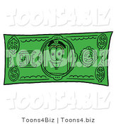 Illustration of a Cartoon Price Tag Mascot on a Dollar Bill by Toons4Biz