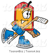 Illustration of a Cartoon Price Tag Mascot Playing Ice Hockey by Toons4Biz