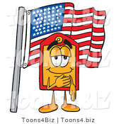 Illustration of a Cartoon Price Tag Mascot Pledging Allegiance to an American Flag by Toons4Biz