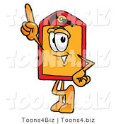 Illustration of a Cartoon Price Tag Mascot Pointing Upwards by Toons4Biz