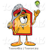 Illustration of a Cartoon Price Tag Mascot Preparing to Hit a Tennis Ball by Toons4Biz