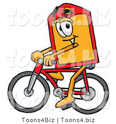 Illustration of a Cartoon Price Tag Mascot Riding a Bicycle by Toons4Biz