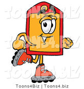 Illustration of a Cartoon Price Tag Mascot Roller Blading on Inline Skates by Toons4Biz
