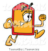 Illustration of a Cartoon Price Tag Mascot Running by Toons4Biz