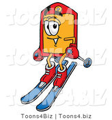 Illustration of a Cartoon Price Tag Mascot Skiing Downhill by Toons4Biz