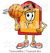 Illustration of a Cartoon Price Tag Mascot Spinning a Basketball on His Finger by Toons4Biz