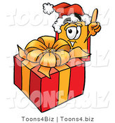 Illustration of a Cartoon Price Tag Mascot Standing by a Christmas Present by Toons4Biz