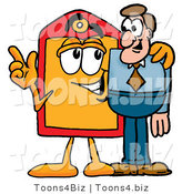 Illustration of a Cartoon Price Tag Mascot Talking to a Business Man by Toons4Biz