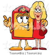 Illustration of a Cartoon Price Tag Mascot Talking to a Pretty Blond Woman by Toons4Biz