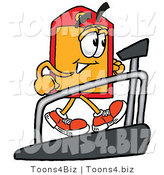 Illustration of a Cartoon Price Tag Mascot Walking on a Treadmill in a Fitness Gym by Toons4Biz