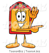 Illustration of a Cartoon Price Tag Mascot Waving and Pointing by Toons4Biz