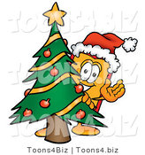 Illustration of a Cartoon Price Tag Mascot Waving and Standing by a Decorated Christmas Tree by Toons4Biz