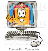 Illustration of a Cartoon Price Tag Mascot Waving from Inside a Computer Screen by Toons4Biz