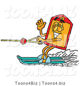 Illustration of a Cartoon Price Tag Mascot Waving While Water Skiing by Toons4Biz