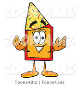Illustration of a Cartoon Price Tag Mascot Wearing a Birthday Party Hat by Toons4Biz
