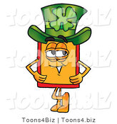 Illustration of a Cartoon Price Tag Mascot Wearing a Saint Patricks Day Hat with a Clover on It by Toons4Biz
