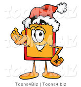 Illustration of a Cartoon Price Tag Mascot Wearing a Santa Hat and Waving by Toons4Biz