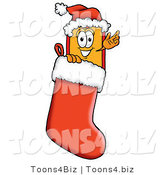 Illustration of a Cartoon Price Tag Mascot Wearing a Santa Hat Inside a Red Christmas Stocking by Toons4Biz