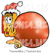 Illustration of a Cartoon Price Tag Mascot Wearing a Santa Hat, Standing with a Christmas Bauble by Toons4Biz