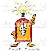 Illustration of a Cartoon Price Tag Mascot with a Bright Idea by Toons4Biz