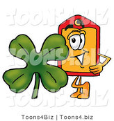 Illustration of a Cartoon Price Tag Mascot with a Green Four Leaf Clover on St Paddy's or St Patricks Day by Toons4Biz