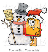 Illustration of a Cartoon Price Tag Mascot with a Snowman on Christmas by Toons4Biz