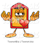 Illustration of a Cartoon Price Tag Mascot with His Heart Beating out of His Chest by Toons4Biz